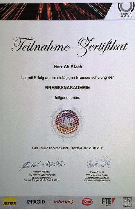 Die Werkstatt - Bremsenakademie Zertifikat.