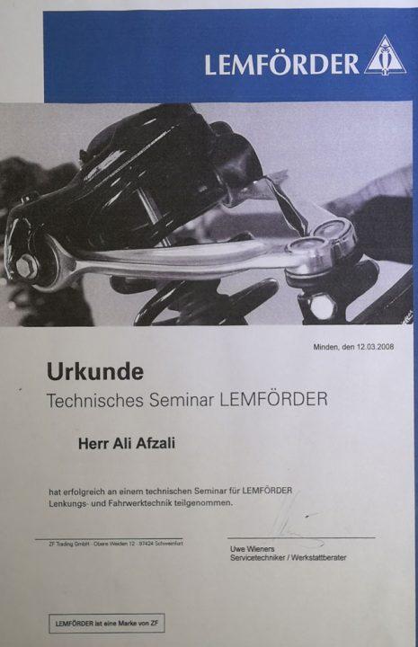 Die Werkstatt - Fahrwerktechnik Zertifikat.