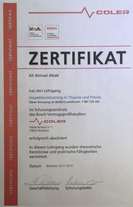Die Werkstatt - Inspektion Zertifikat.
