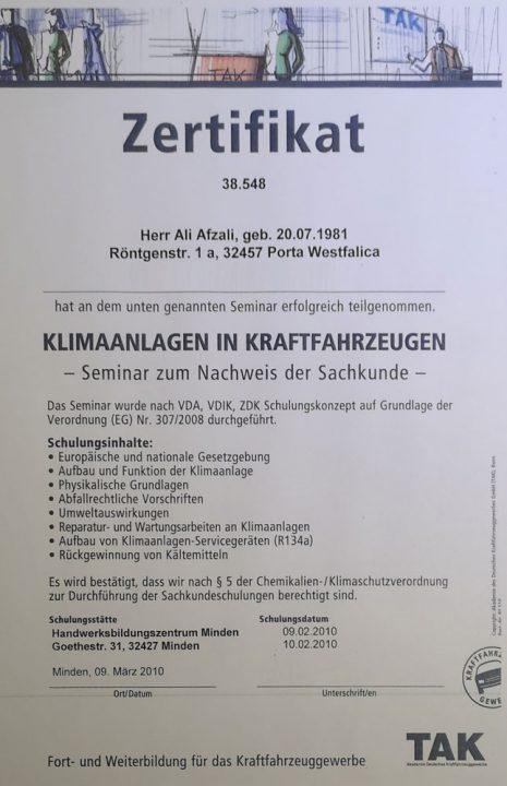 Die Werkstatt - Klimaanlagen Zertifikat.