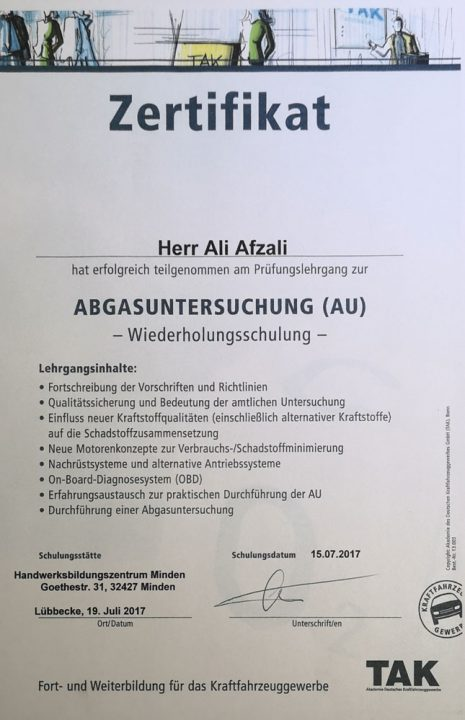 Die Werkstatt - Abgasuntersuchung Zertifikat.